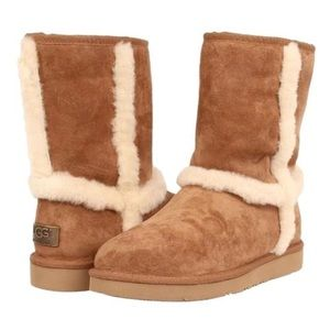 Ugg Chestnut Carter Suede Shearling Trim Boots